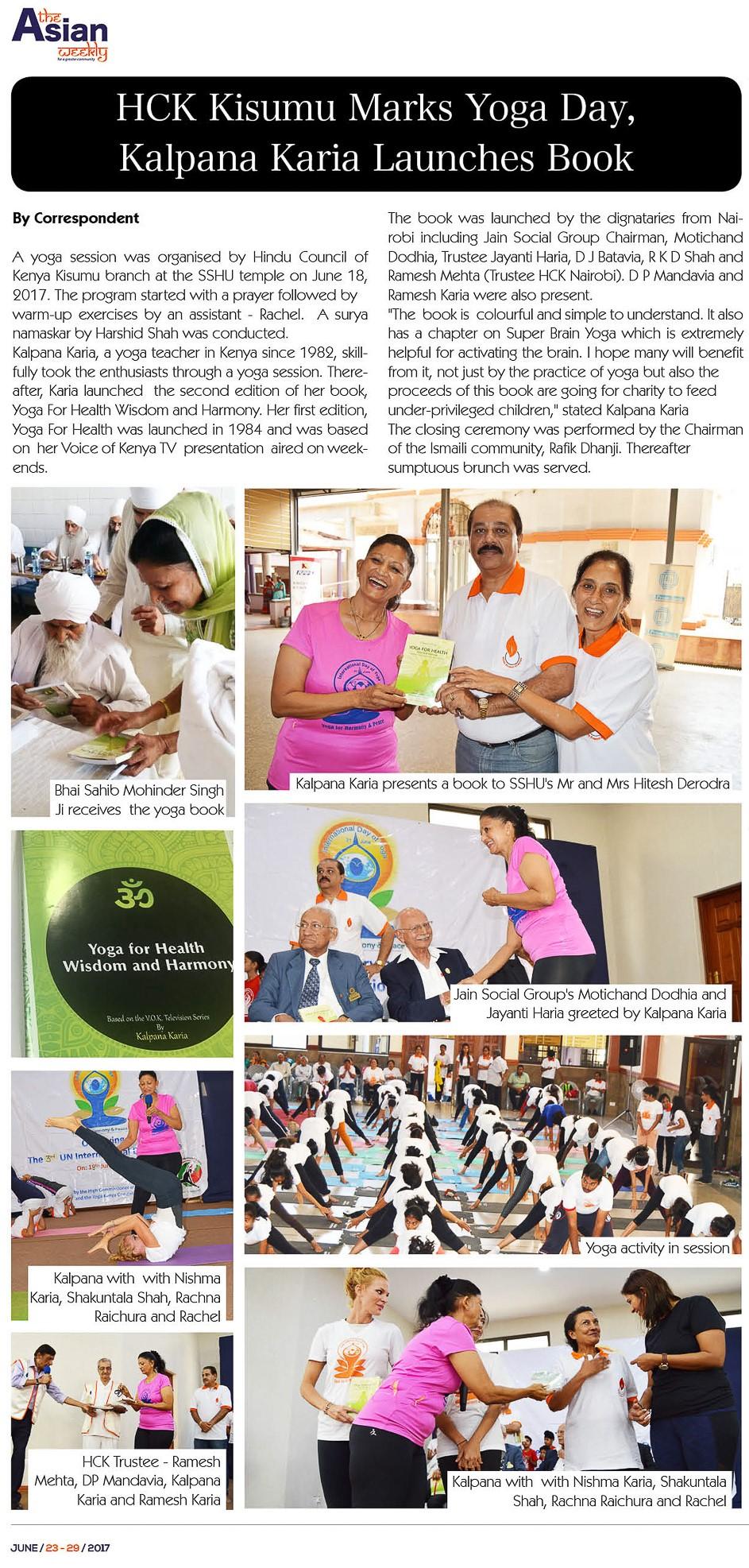 HCK Kisumu Marks Yoga Day, Kalpana Karia Launches Book By Correspondent